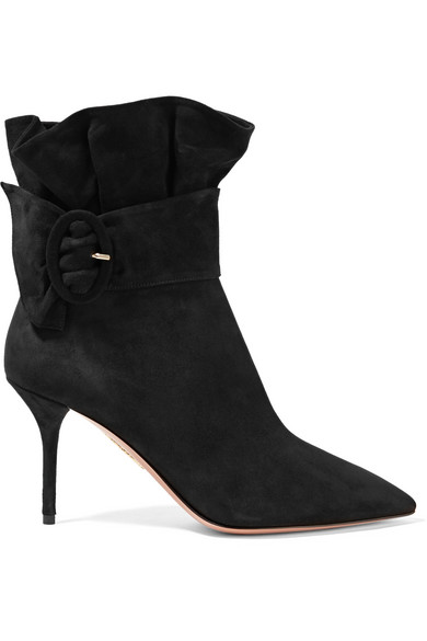 PALACE RUFFLED SUEDE ANKLE BOOTS from NET-A-PORTER
