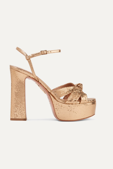 Baba Plateau Metallic Cracked-Leather Platform Sandals in Gold