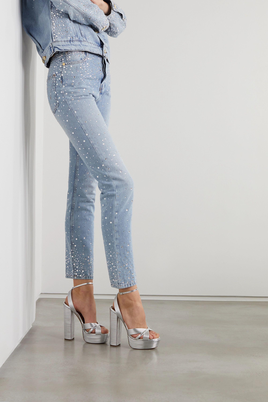 Aquazzura Sundance 140 metallic leather platform sandals