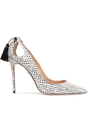 Forever Marilyn cutout tasseled printed watersnake pumps