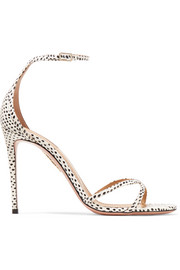 Aquazzura Purist polka-dot elaphe sandals