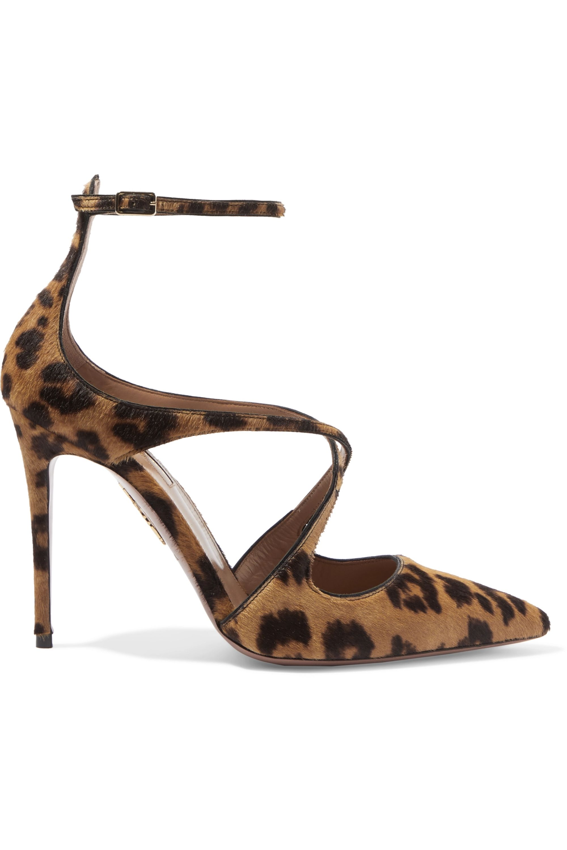 Aquazzura Viviana leopard-print calf hair and leather pumps