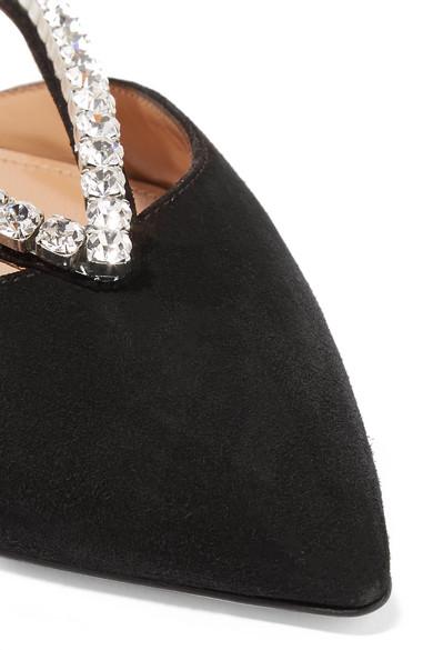 Aquazzura Shoes Sabine crystal-embellished suede slippers