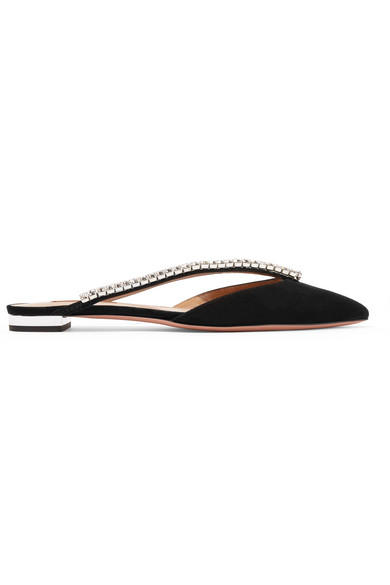Aquazzura Slippers Sabine crystal-embellished suede slippers