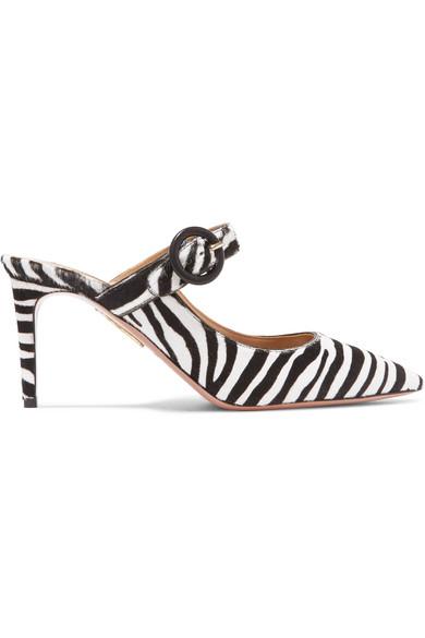 Aquazzura Blossom Zebra-Print Calf Hair Mule Pumps J5MYzG