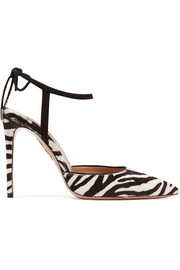 Aquazzura Candance suede-trimmed zebra-print calf hair pumps