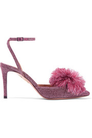 Aquazzura Powder Puff pompom-embellished Lurex slingback pumps