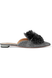 Powder Puff Slippers aus Lurex® mit Pomponverzierung