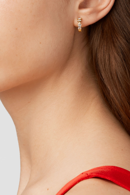 Suzanne Kalan 18-karat gold diamond hoop earrings