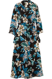 Floral-print cotton and silk-blend wrap dress