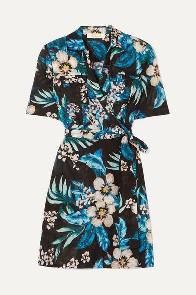 63ecbe3d485b88 Diane von Furstenberg   Floral-print cotton and silk-blend mini wrap ...