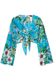 Cropped floral-print cotton and silk-blend wrap top