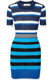 Striped ribbed cotton-blend dress