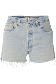 + Levi's zip-embellished frayed denim shorts