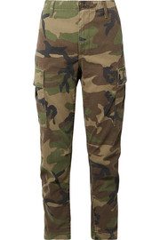Camouflage-print cotton-canvas tapered pants