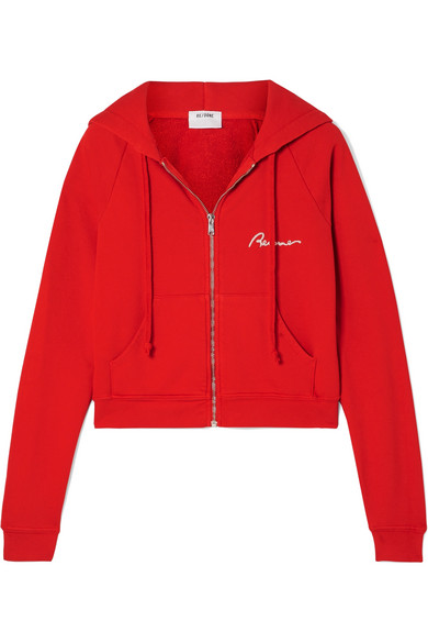 RE/DONE Embroidered Cotton-Jersey Hoodie in Red