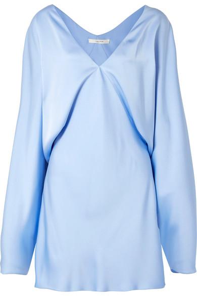 The Row - Ran Draped Silk-satin Mini Dress - Light blue