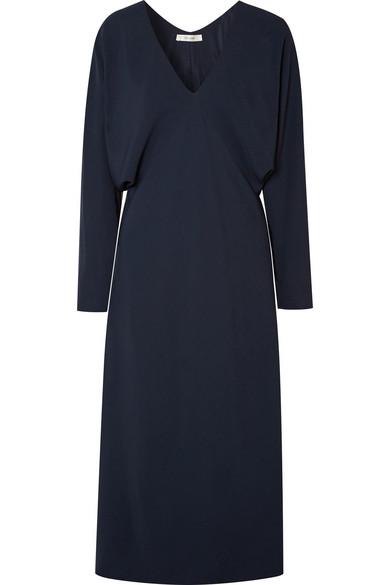 Dan Stretch-Crepe V-Neck Dress, Navy