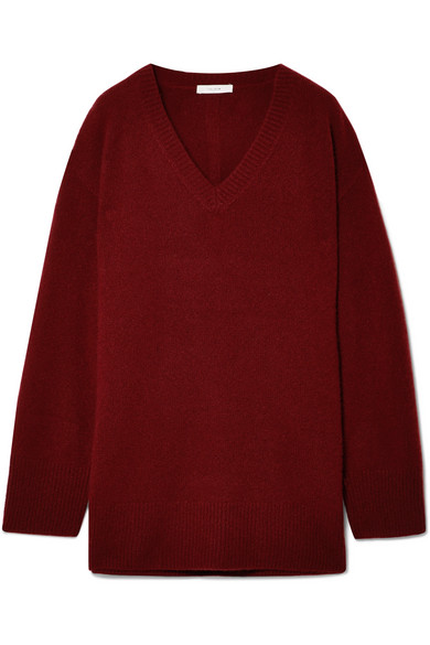 Sabrinah Oversized Cashmere And Silk-Blend Sweater in Burgundy from SVMOSCOW