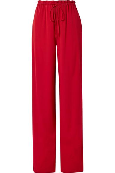 Jr Stretch-silk Georgette Wide-leg Pants - Claret The Row Best Seller WIduGTdJ