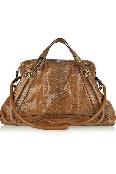 8aa57263e49 Chloé. Paraty Large python and leather bag
