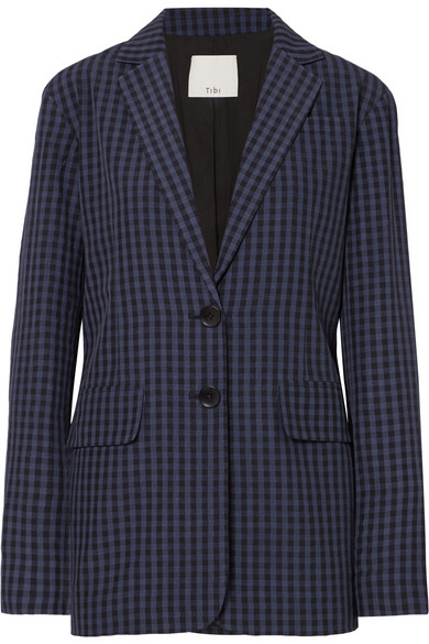 Oversized Gingham Seersucker Blazer by Tibi