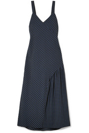 Asymmetric gingham seersucker midi dress