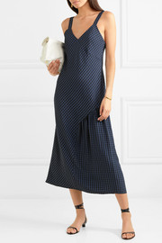 Tibi Asymmetric gingham seersucker midi dress