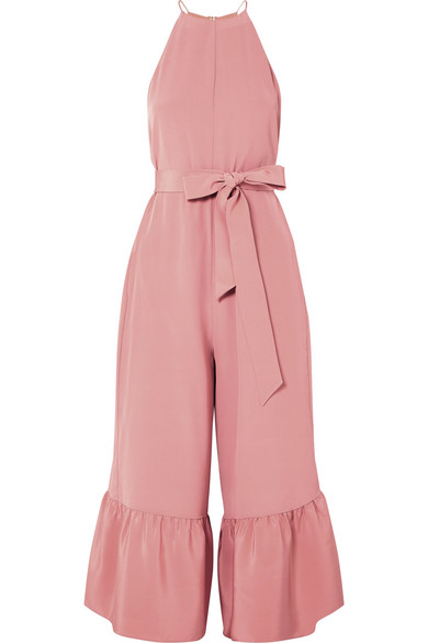 Ruffled Silk Crepe De Chine Jumpsuit, Shell