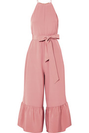 Ruffled silk crepe de chine jumpsuit