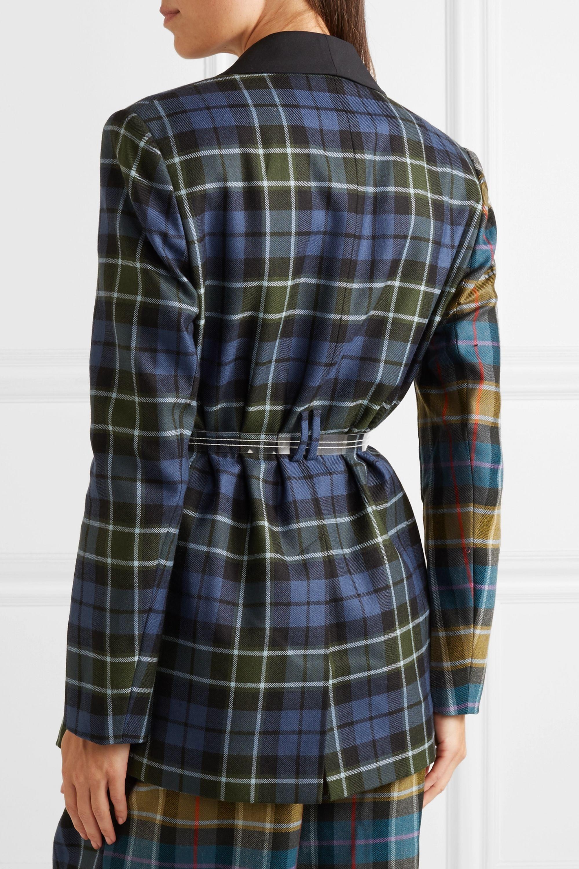 Tibi Oversized belted tartan wool blazer