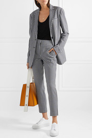 Tibi Gingham cady slim-leg pants