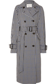 Gingham twill trench coat