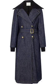 Stretch merino wool-trimmed denim trench coat