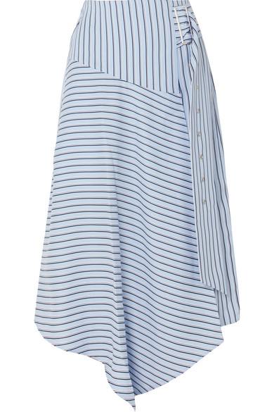 Viscose Stripe Asymmetrical Drape Skirt in Blue