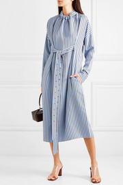 Tibi Belted striped poplin midi dress