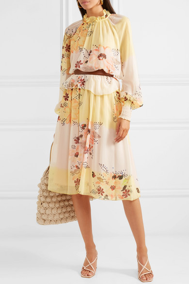 f9e63906 See By Chloé | Tiered floral-print georgette dress | NET-A-PORTER.COM
