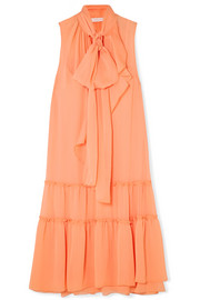 See By Chloé Pussy-bow tiered crepon dress