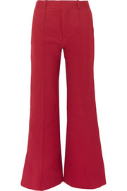 Cotton-blend twill wide-leg pants
