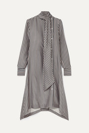 See By Chloé Asymmetric pussy-bow striped crepe de chine midi dress