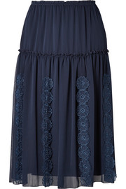 See By Chloé Appliquéd tiered crepe skirt