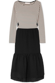 Cotton-seersucker and striped jersey midi dress