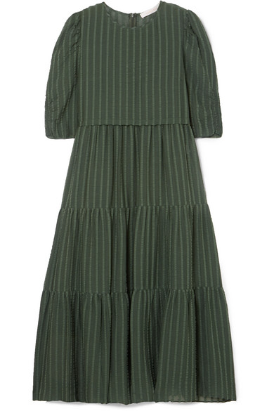 TIERED STRIPED COTTON-BLEND JACQUARD MIDI DRESS from NET-A-PORTER