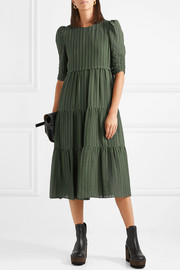 See by Chloé Tiered striped cotton-blend jacquard midi dress