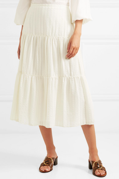 Striped Cotton Jacquard Skirt by See By Chloé
