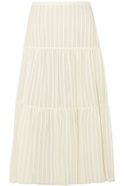 Striped cotton-jacquard skirt