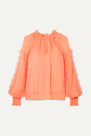 See By Chloé Smocked appliquéd chiffon blouse