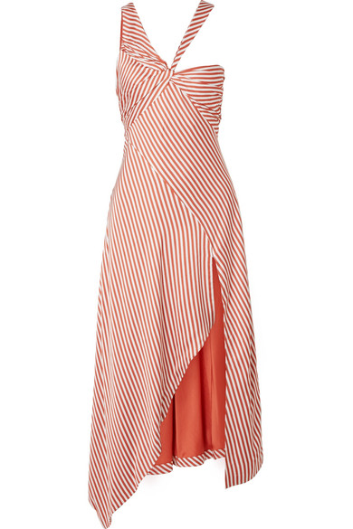 ASYMMETRIC STRIPED SATEEN DRESS