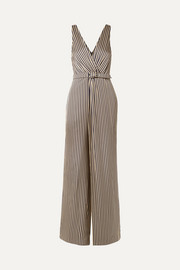Wrap-effect striped sateen jumpsuit
