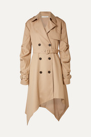 Asymmetric cotton-twill trench coat